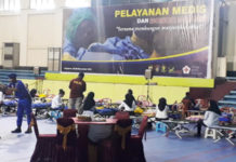 Caption : Suasana Donor darah yang digelar Dit Polair Polda Papua di Gor Cenderawasih Jayapura
