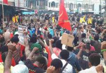 Suasana aksi demo damai dari Aktivis KNPB di Abepura