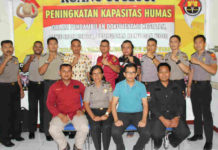 Caption : Suasana Foto Bersama Humas seluruh jajaran Polres Jayapura pada peningkatan kapasitas Humas, Sabtu (8/12/2018).