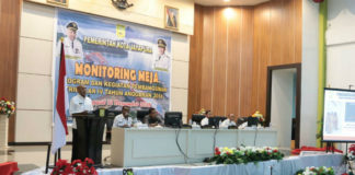 Caption : Monitoring Meja Program dan Kegiatan Pembangunan Triwulan IV Tahun Anggaran 2018 yang digelar Bapeda Kota Jayapura, Rabu (12/12/2018).