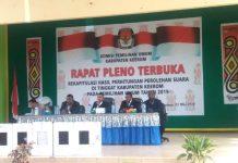 Caption: Suasana rapat pleno terbuka rekapitulasi hasil perhitungan tingkat Kabupaten Keerom yang diselenggarakan oleh KPU Keerom, di Gedung Pramuka Swakarsa, Jum'at (3/5/2019).