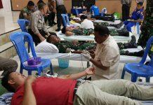 Caption : Suasana Donor Darah yang dilaksanakan oleh Polres Mimika di Aula Pelayanan Mapolres Mimika, Rabu (19/06/2019) pagi.