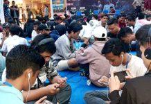 Suasana semarak Bhayangkara ke -73 PUBG Championship yang digelar Bidhumas Polda Papua di Lantai 4 Mall Jayapura, Jumat (28/6/2019)
