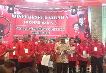 Caption : Pengurus PDI Perjuangan Provinsi Papua ketika dilantik pada Konferensi V di Aston Jayapura, Kamis (25/7/2019).