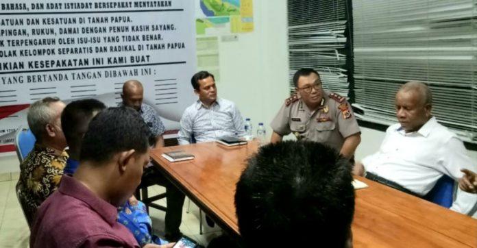 Pertemuan deklarasi Papua damai di Kantor Bupati Sarmi, Rabu (11/9/19)