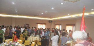Caption : Suasana Doa bersama Tokoh-tokoh Lintas Agama dalam rangka menjaga Papua tanah damai, yang berlangsung di Hotel Sahid-Papua, Jum'at (06/09/2019)