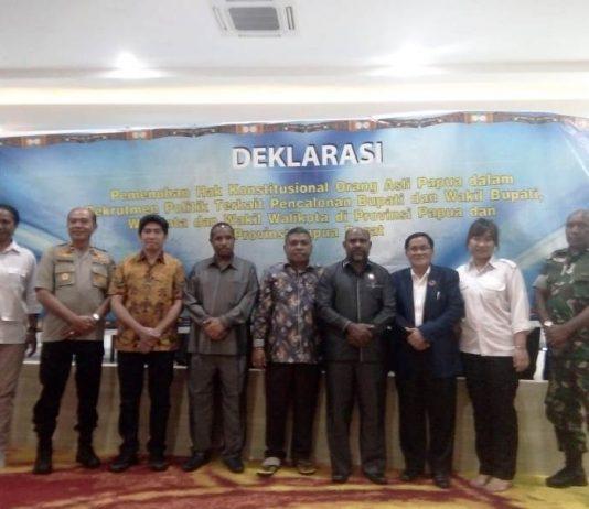 Caption: Suasana Deklarasi MRP dan MRPB soal pemenuhan hak Konstitusional OPA, Jumat (27/2).