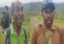 Caption : Kepala distrik Serambakon Thadeus Asemki (Kiri), Ketua DAS Boni Laurens Mindana (kanan)