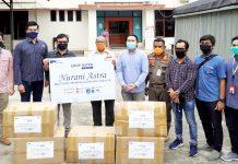 Penyerahan bantuan APD dari Grup Astra Papua yang diserahkan kepada BPBD Propinsi Papua, Senin (18/5/20)