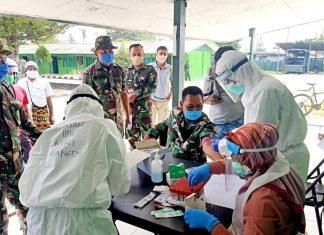 Pemeriksaan rapid test kepada para personil Kodim 1702/Jayawijaya