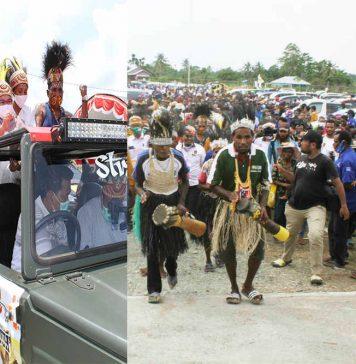 Caption: Tampak Ribuan Masyarakat mengiringi perjalanan pasangan Markum-Malen (MAMA) untuk mendaftar ke KPU, Sabtu (05/09/2020)