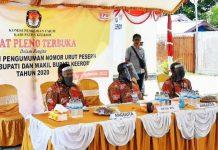 Caption : Ketua KPU Kabuapten Keerom, Melianus Gobay bersama anggota Komisioner saat menggelar Rapat Pleno terbuka penetapan nomor urut di halaman Kantor KPU, Kamis (24/09/2020)