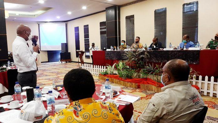 Suasana rapat koordinasi Forkopimda di Swiss Bellhotel Jayapura, Kamis (15/10/20)
